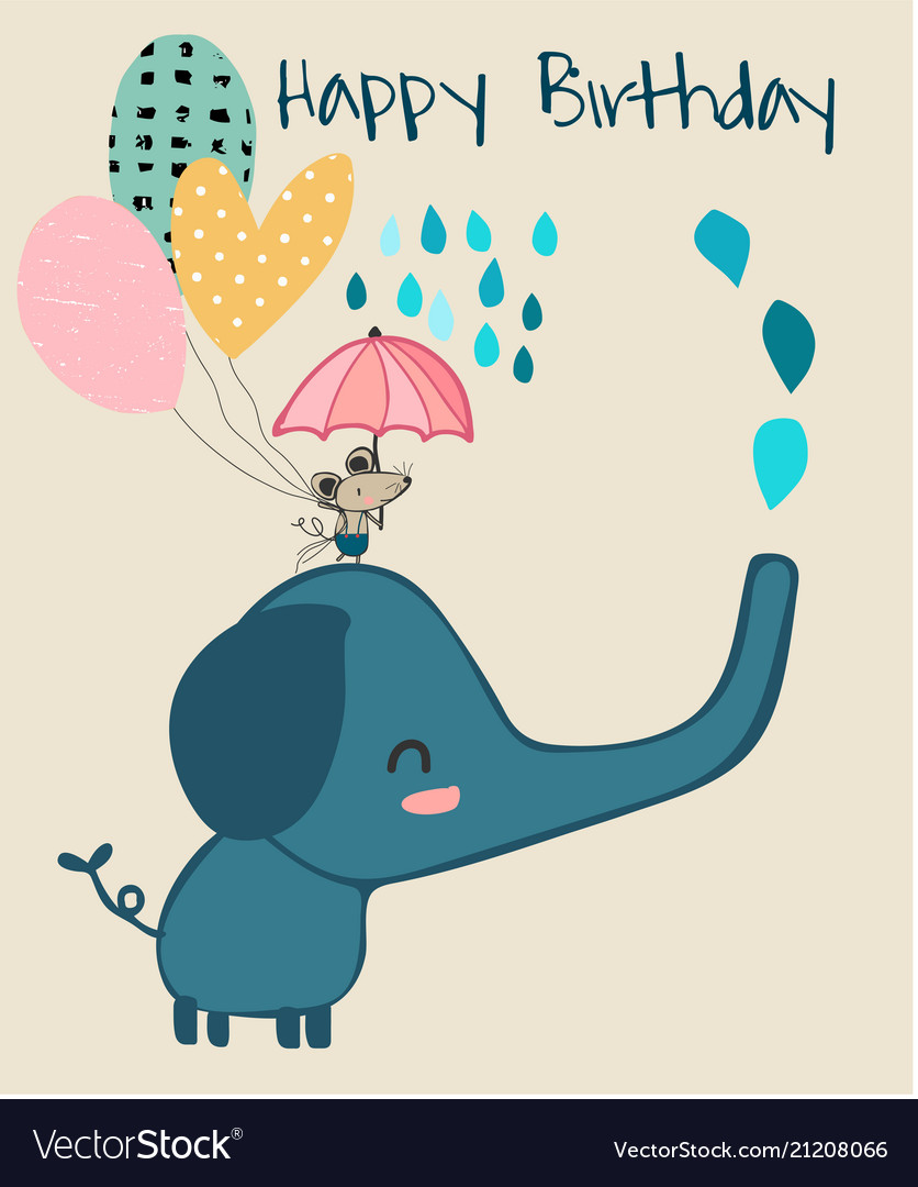 Cute elephant and little mouse holding umbrella