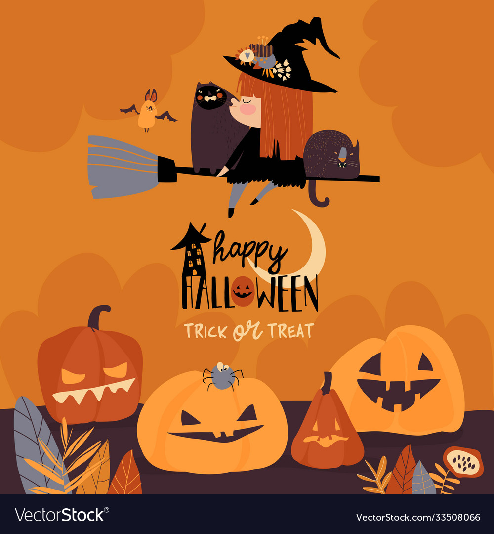 Cute halloween redheaded witch flying on broom