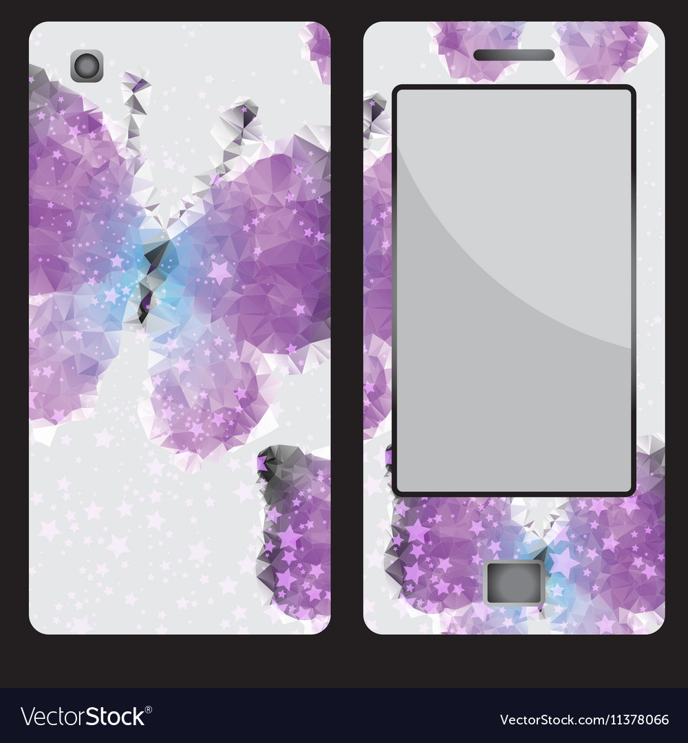 Design for a mobile phone with buttrfly vector image