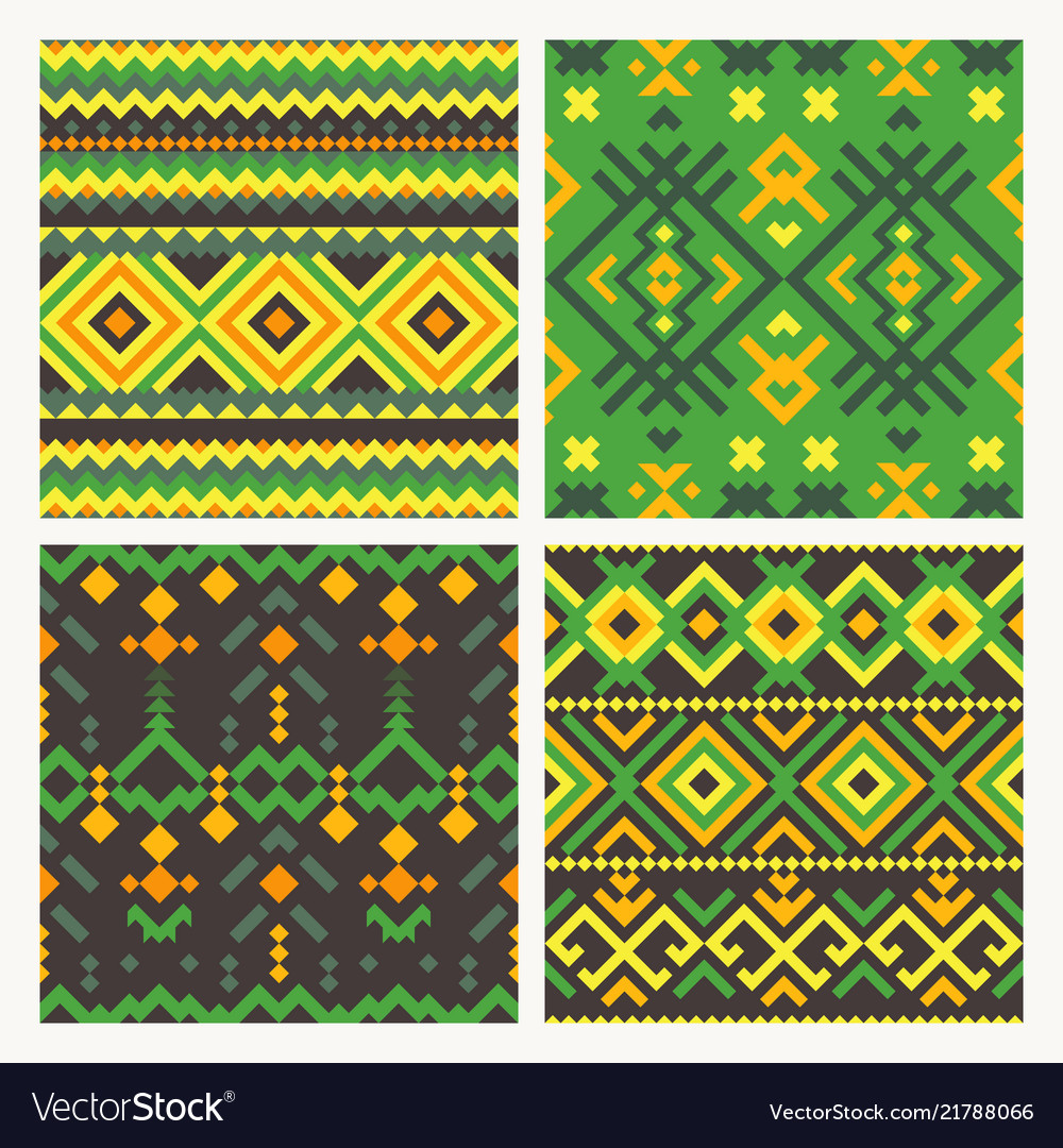 Ethnic tribal seamless patterns set