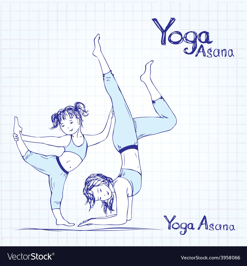 Girl and woman doing yoga poses vector image
