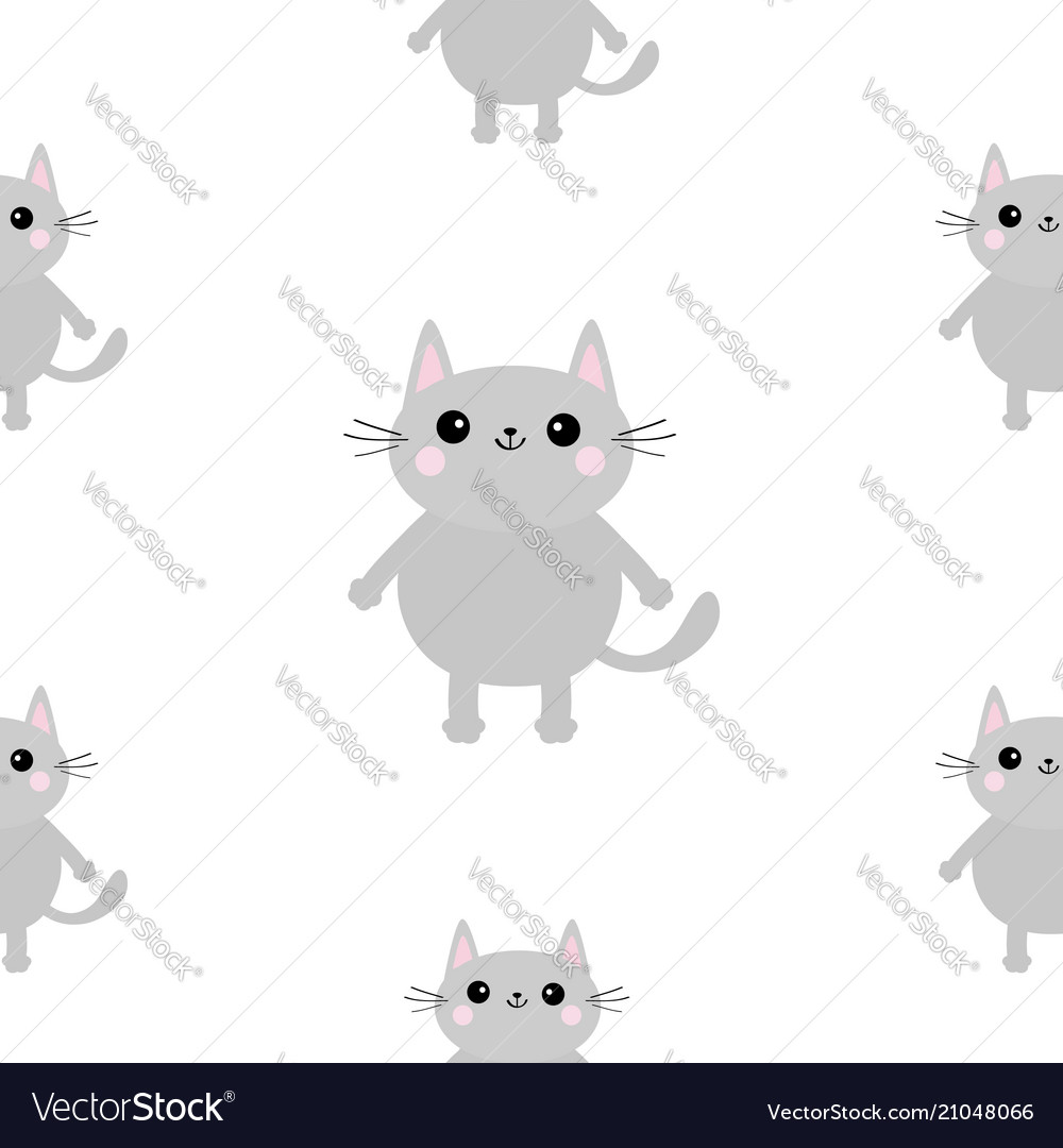 Gray cat head hands with paw print cute cartoon
