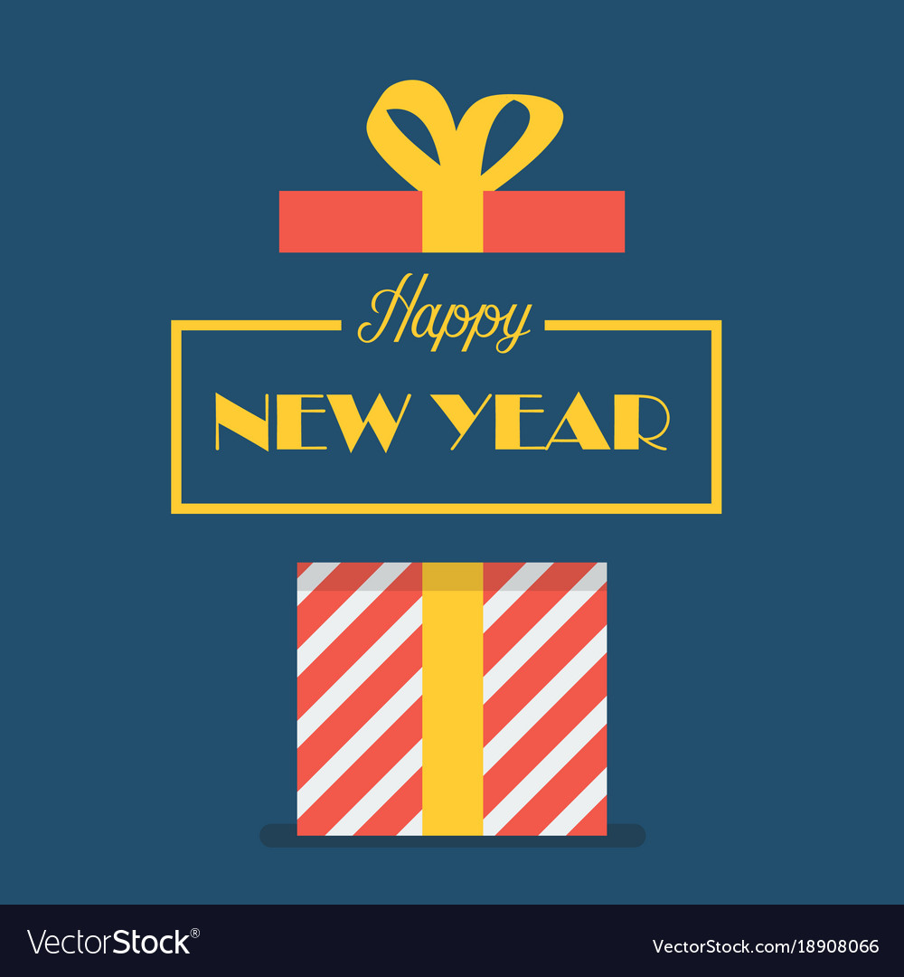 Happy new year with gift box