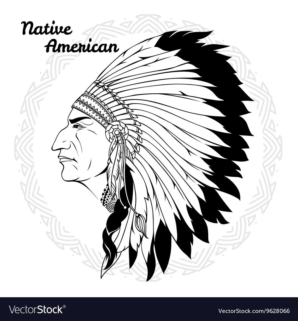 Native American In Profile Monochrome