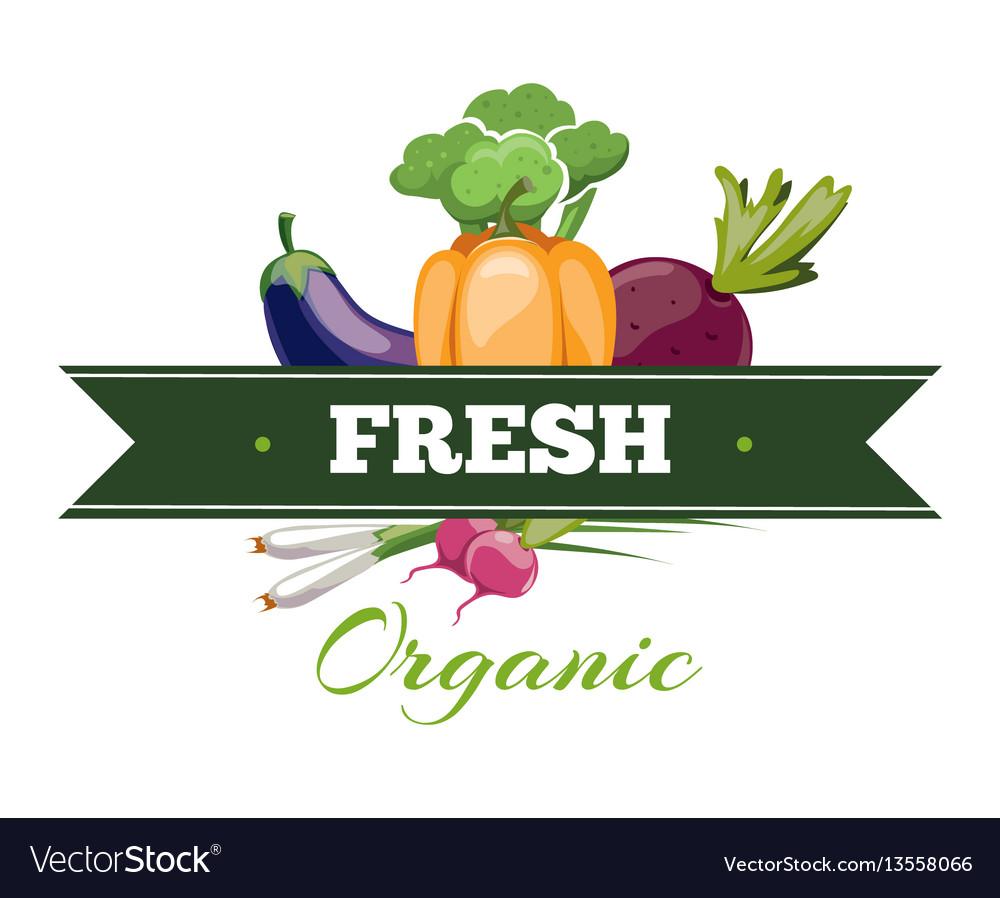 Natural fresh food vegetables logo badge