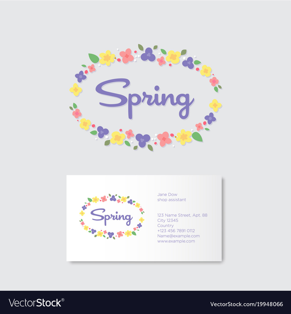 Spring Boutique Emblems Flowers Wreath Royalty Free Vector