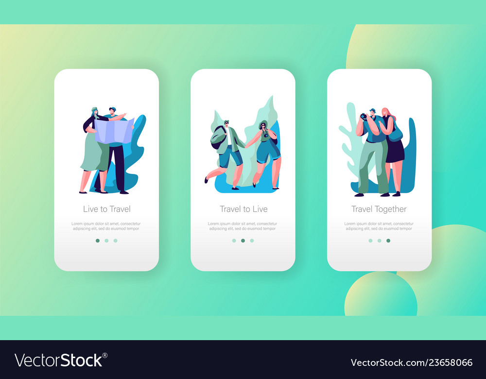 Tourist couple travel mobile app page screen set