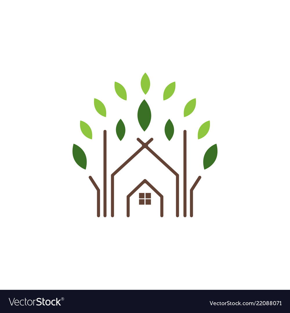 Abstract house and leaf logo icon design template
