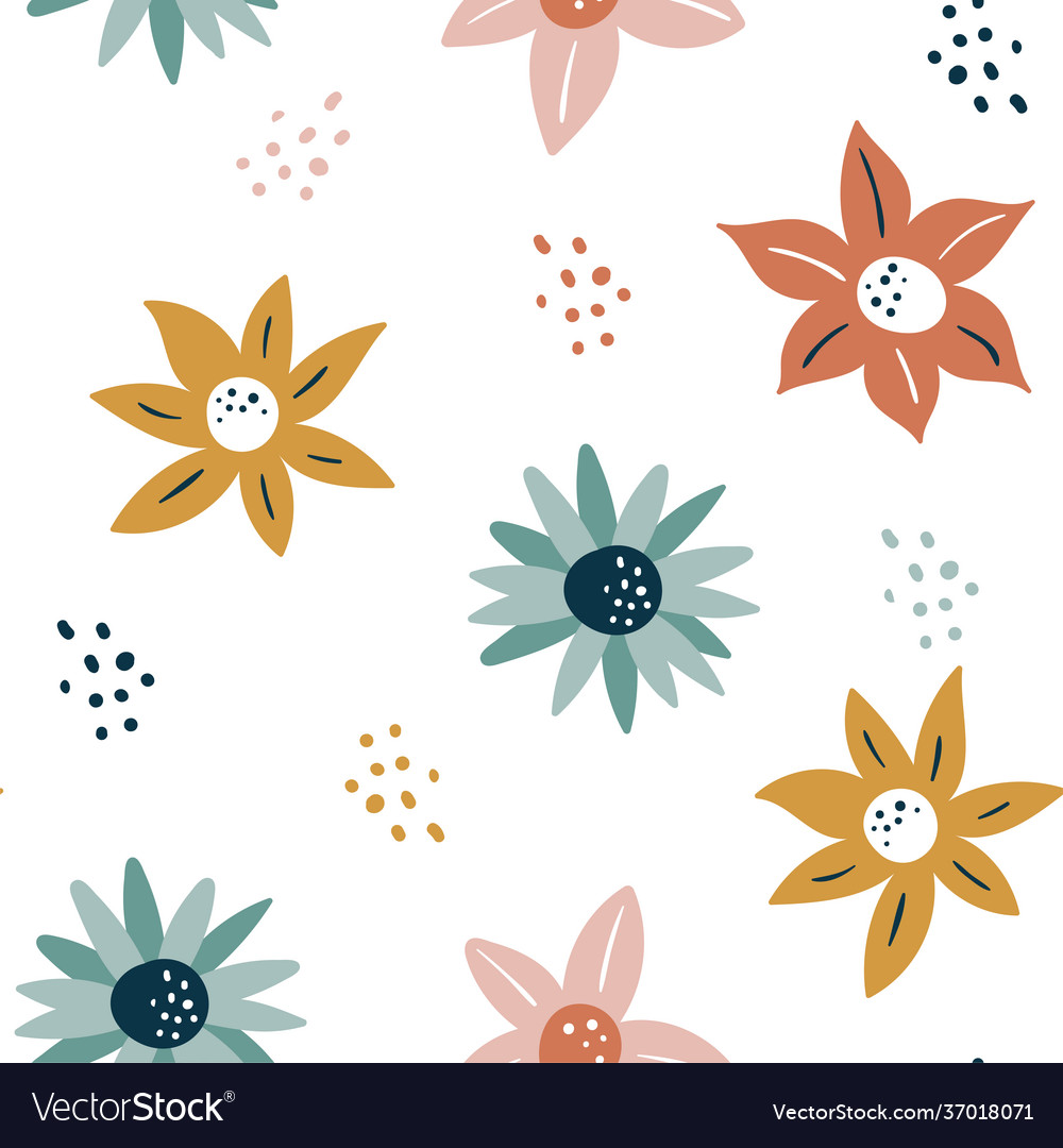 Abstract seamless pattern with flowers and leaves