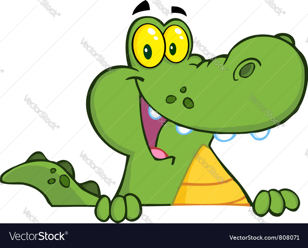alligator or crocodile over a sign royalty free vector image