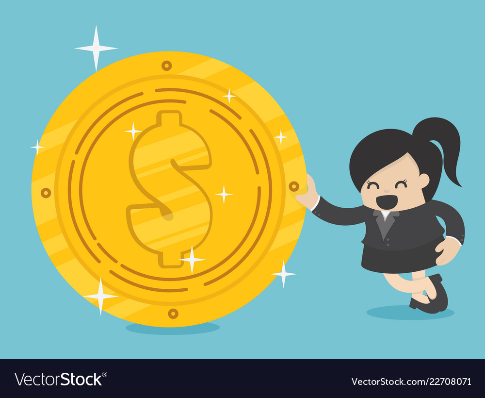 Business woman with golden dollar
