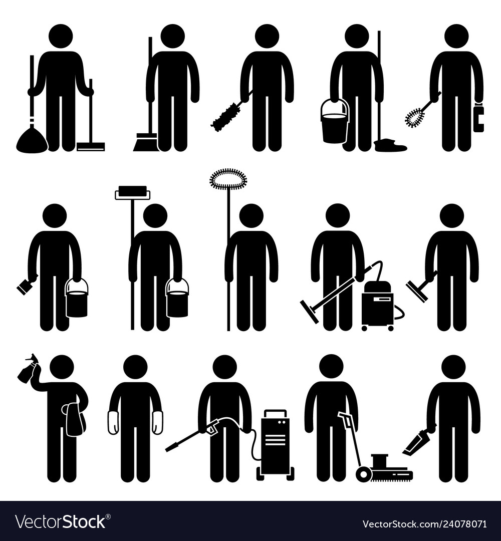 Cleaner man with cleaning tools and equipments