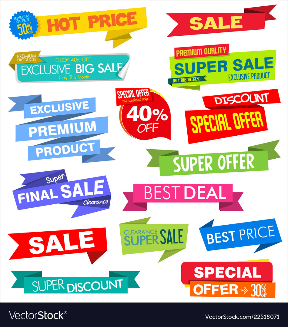 Collection of labels stickers and tags flat design vector image