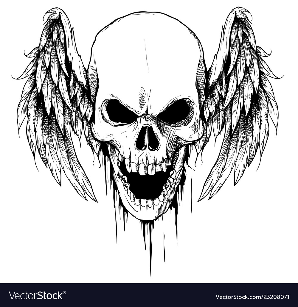Draw skull with wings tattoo