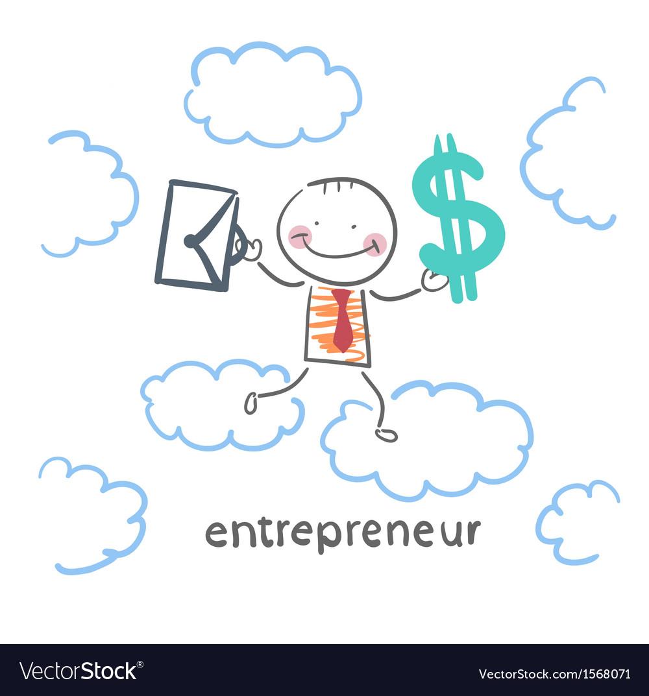 Entrepreneur goes through the sky with a briefcase