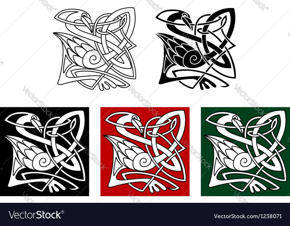 Heron bird in celtic style vector image
