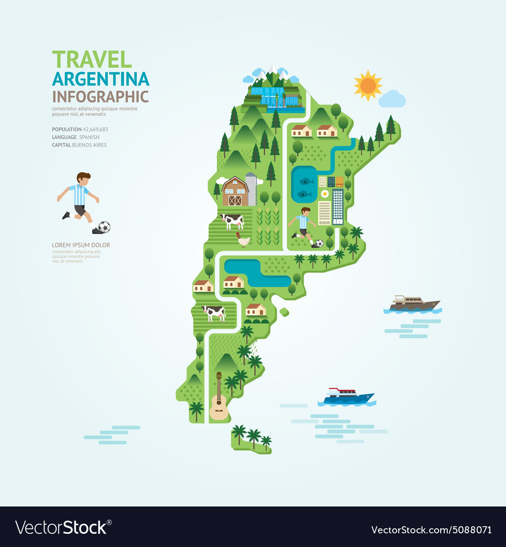 Infographic travel and landmark argentina map