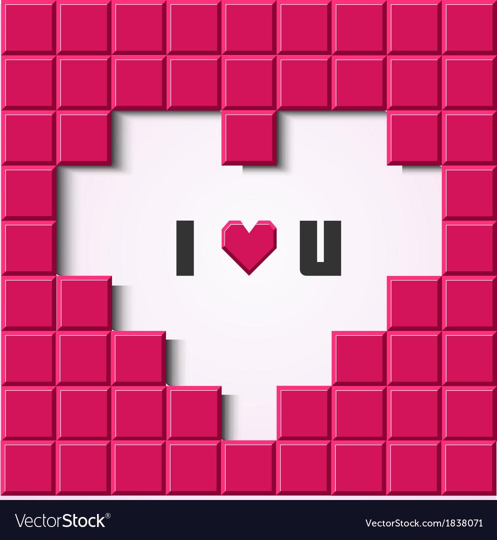 Pink mosaic heart card