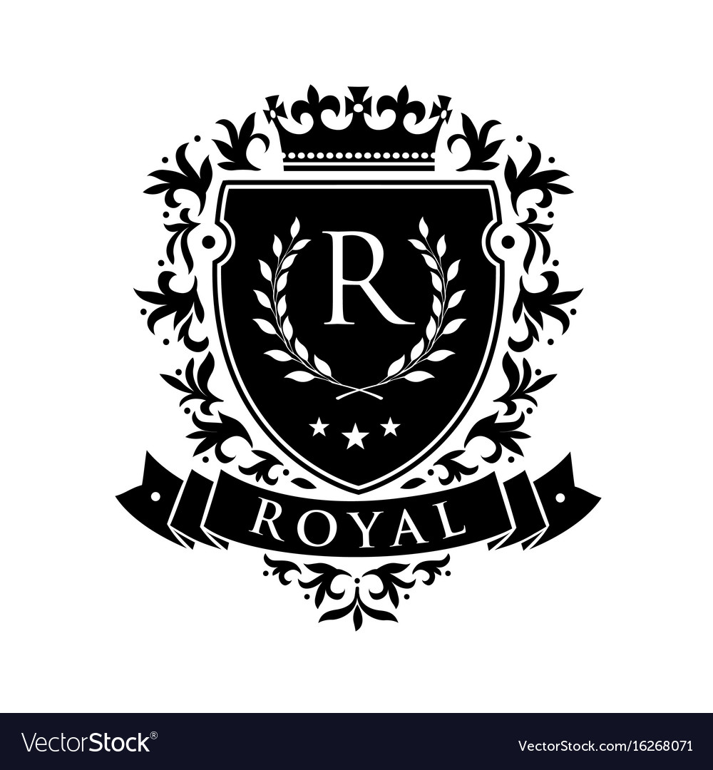 Royal heraldic emblem shield with crown and vector image