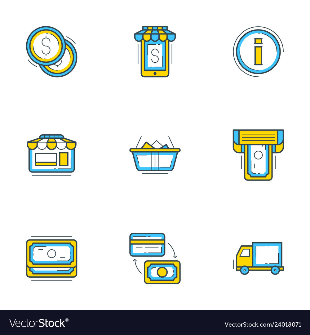 Set of 9 flat line business icons shopping and