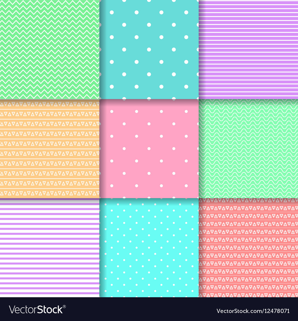 Set of nine seamless pattern in pastel colors vector image