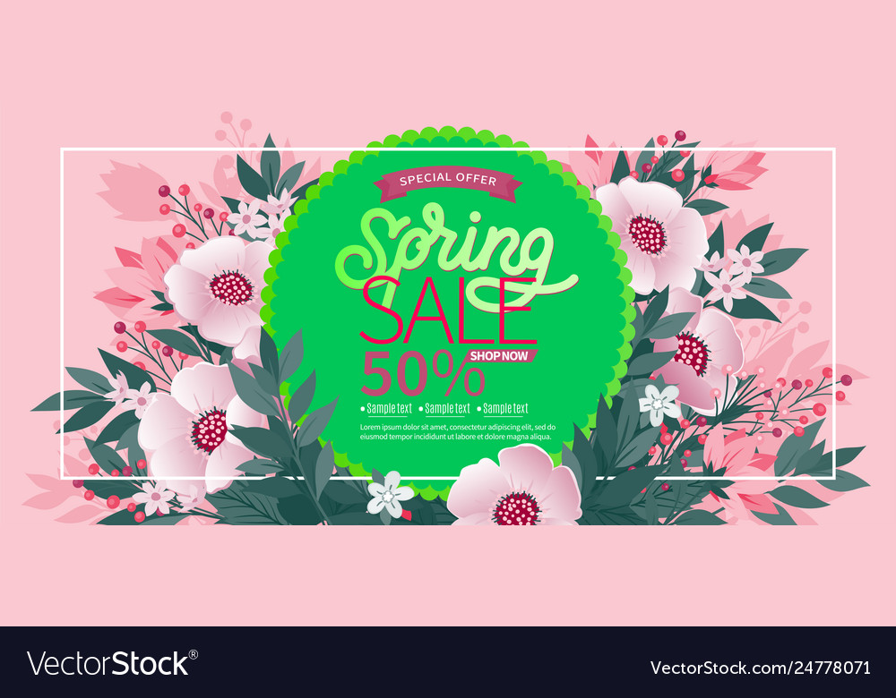 Spring background with green leaves and flowers on