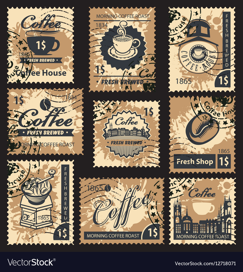 Stamps on coffee house