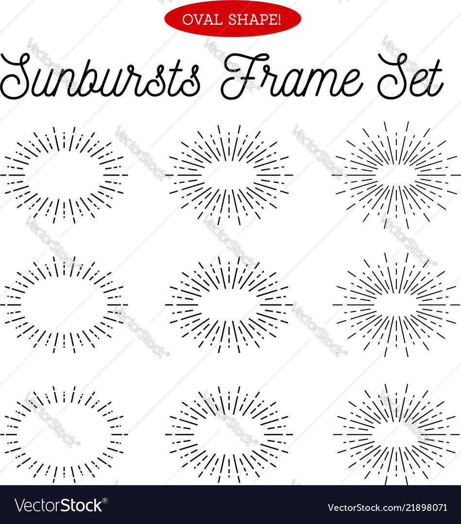 Sunbursts frame set oval shape