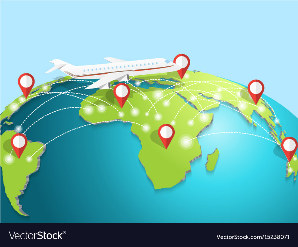 Travelling by airplane around the globe vector image