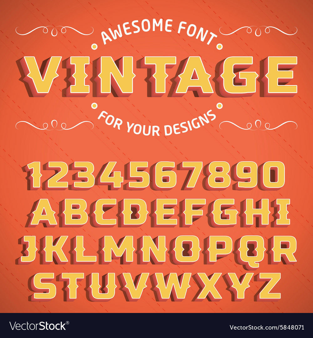 Vintage 3D Font with shadow