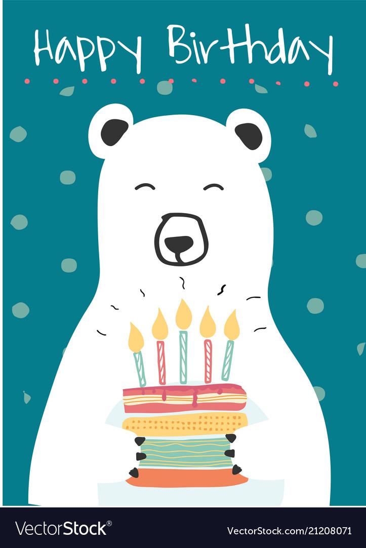White polar bear holding a birthday cake idea for