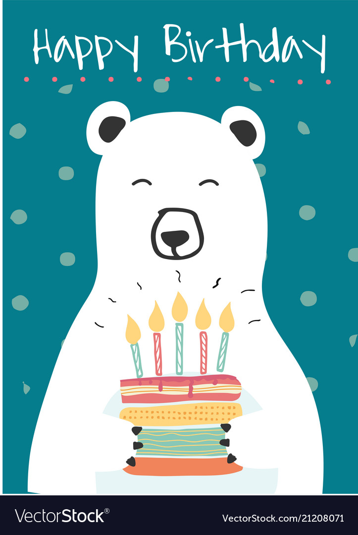 White polar bear holding a birthday cake idea vector