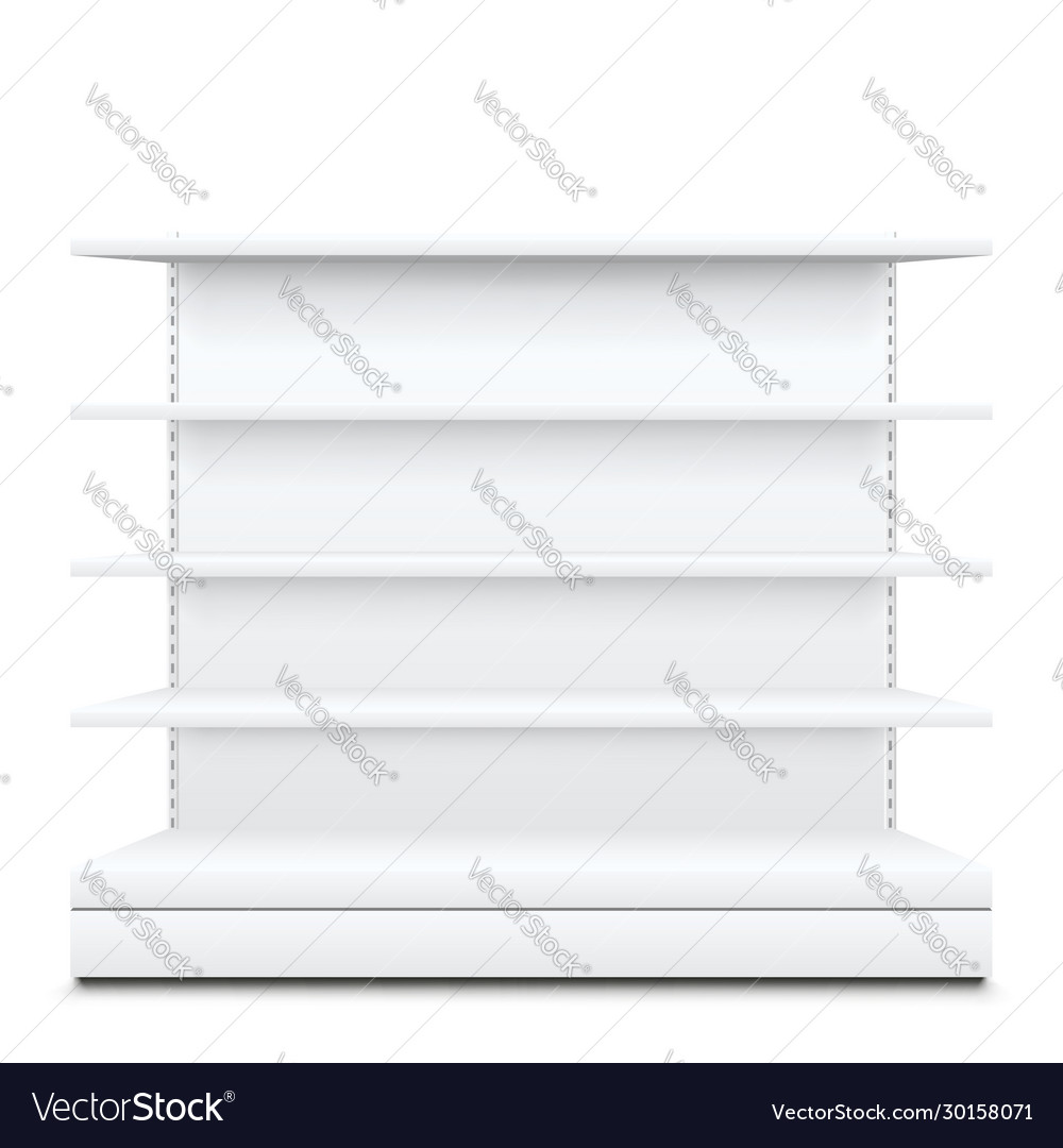 White shelves on
