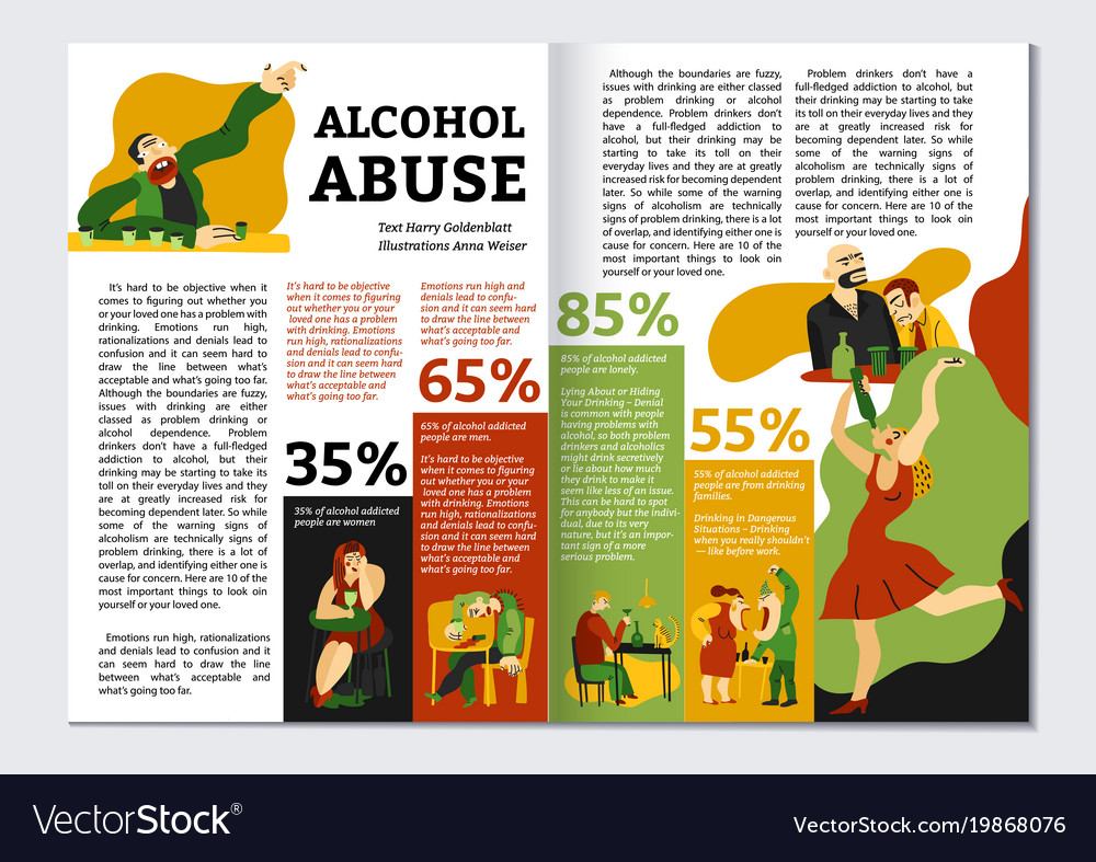alcohol addiction magazine layout royalty free vector image