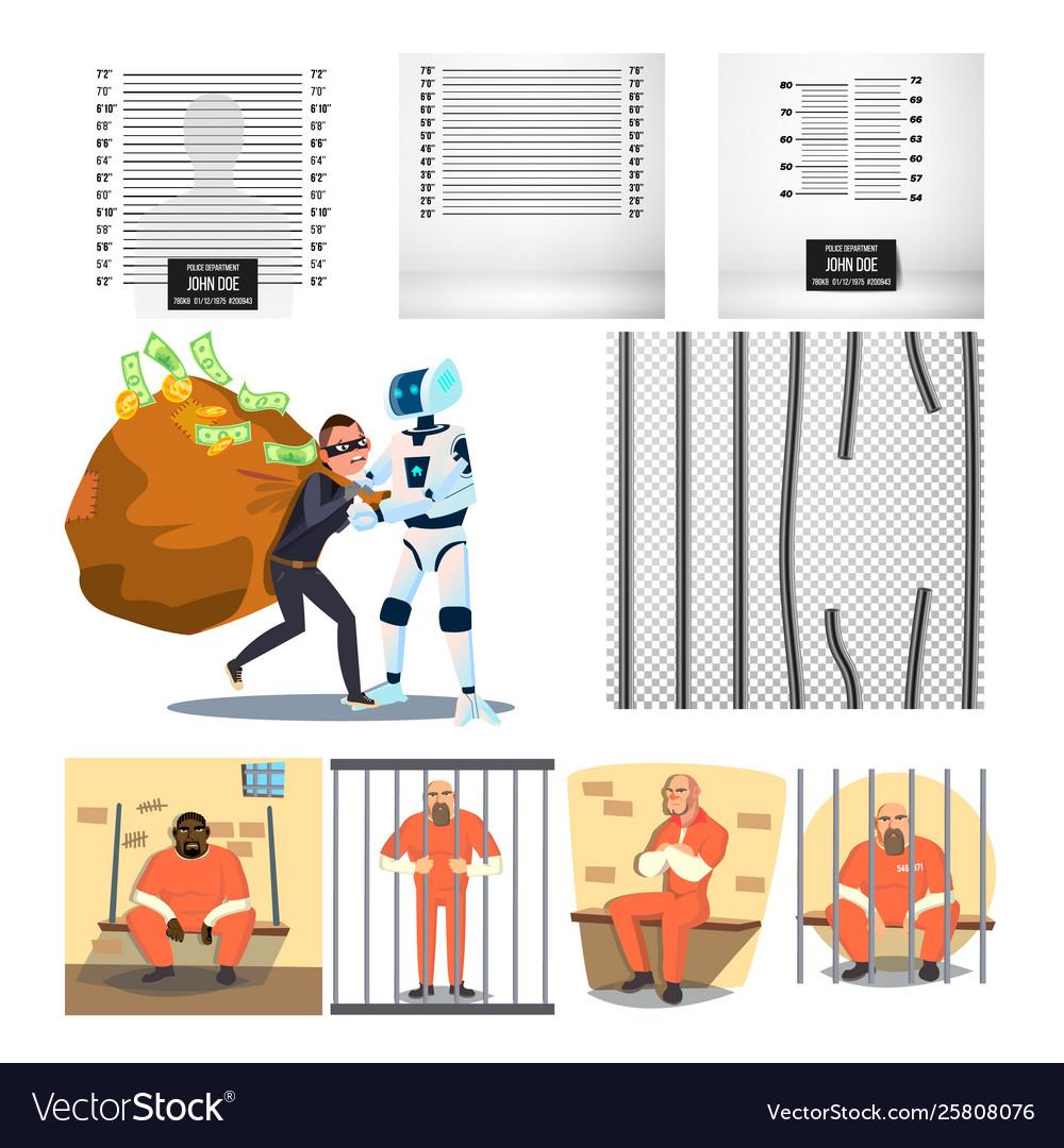 Arrested character criminal and prison set
