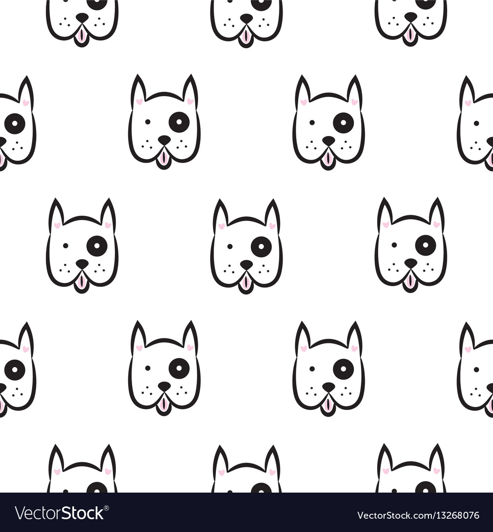 Boxer dog seamless monochrome pattern