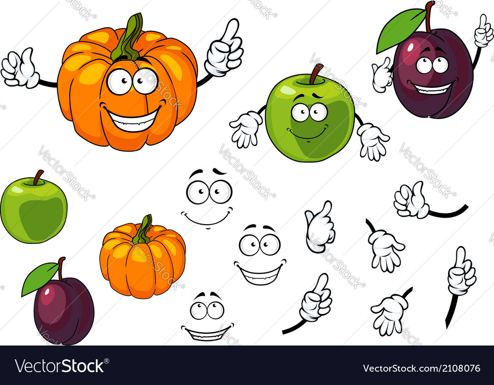 Cartoon pumpkin plum and apple