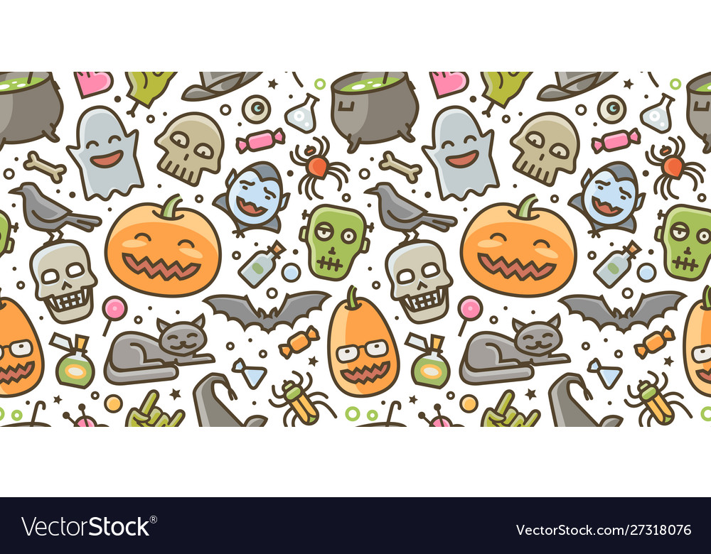 Halloween party colorful seamless background