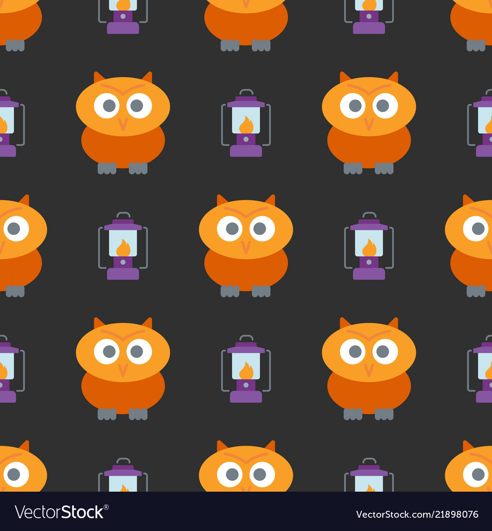 Halloween seamless pattern with cute owl and