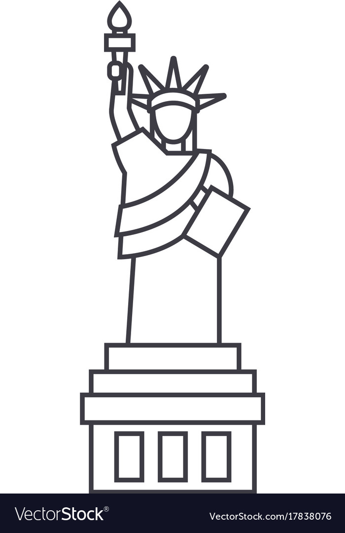 Liberty statue line icon sig