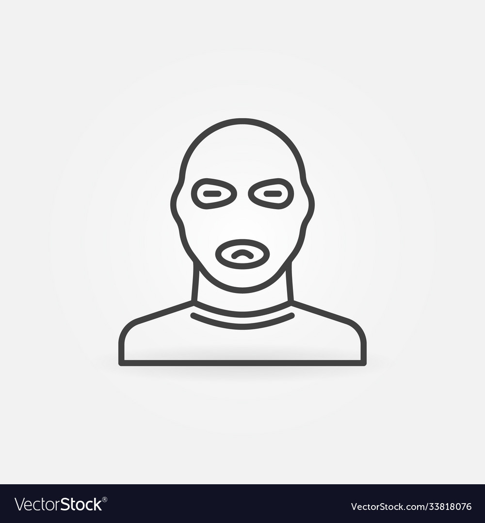 Man in balaclava mask linear concept icon