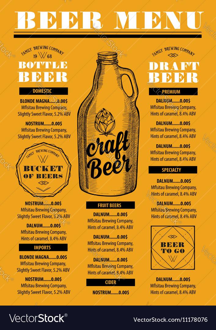 Menu beer restaurant alcohol template placemat