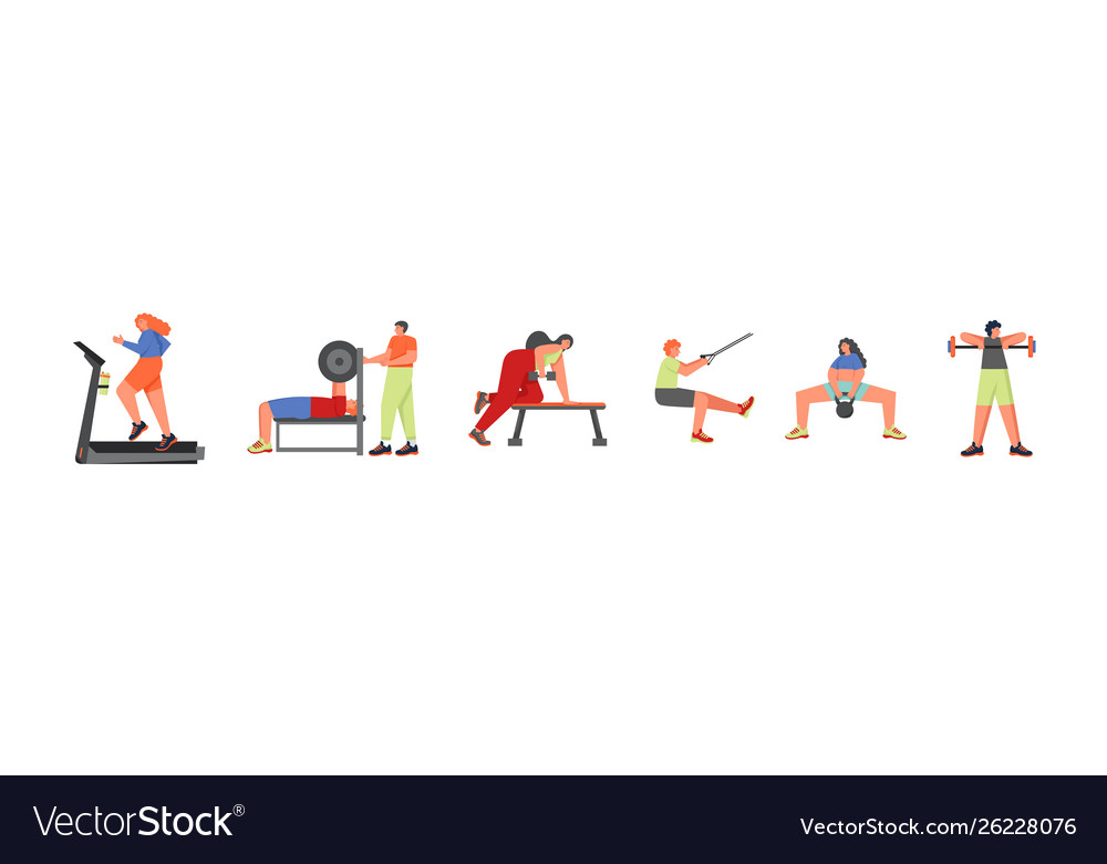 People doing sports flat isolated