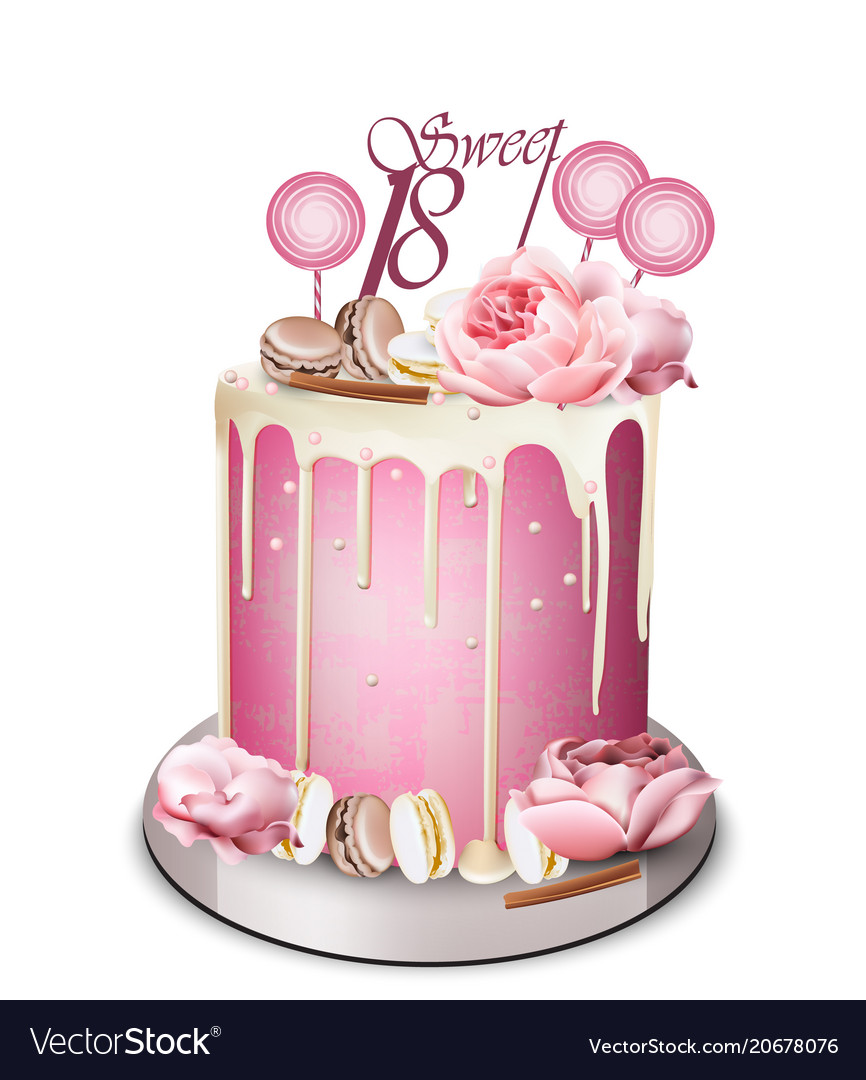 Pink Cake With Peony Flowers On Top Royalty Free Vector