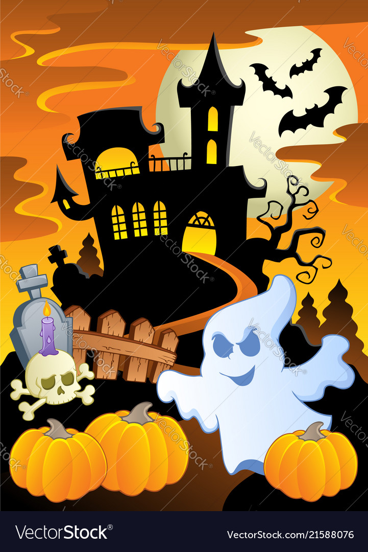 scene with halloween theme 5 royalty free vector image