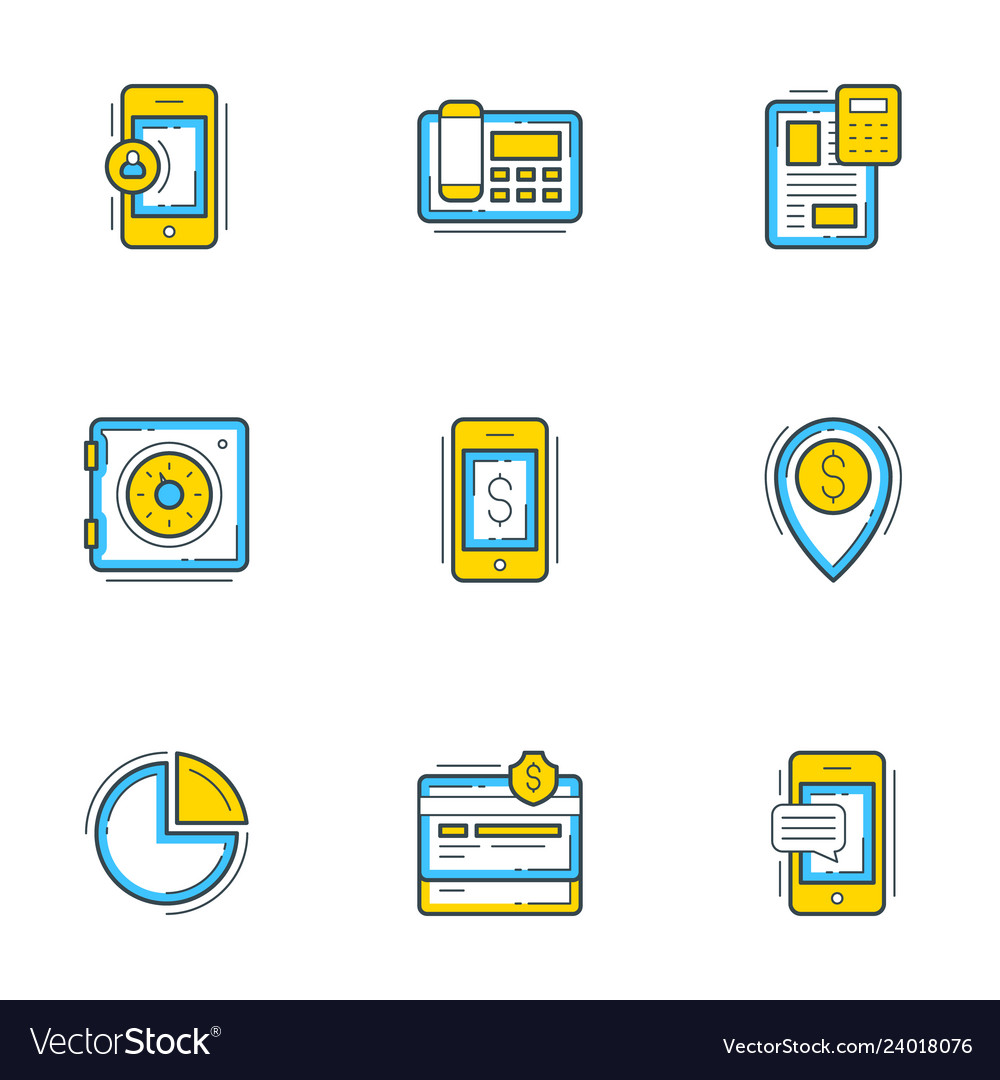 Set of 9 flat line business icons banking and