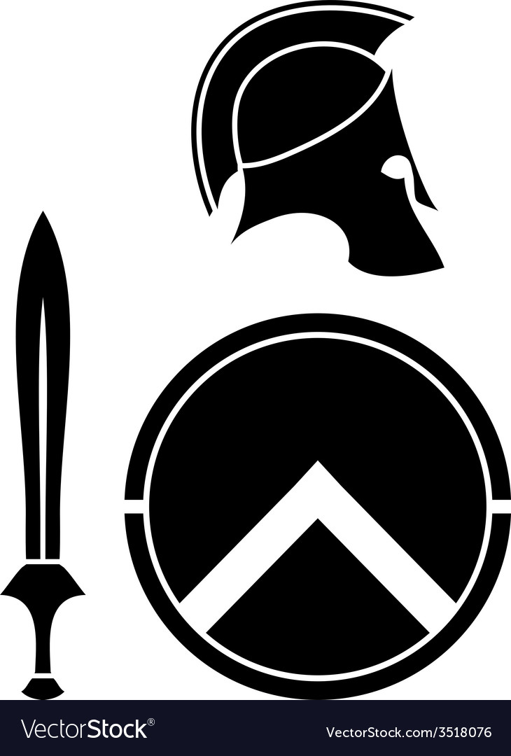 Spartans helmet sword and shield