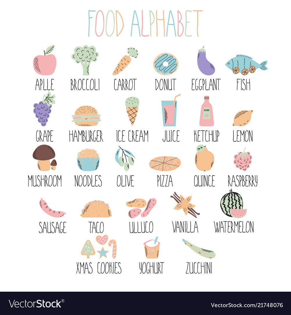 Stylish food alphabet a to z alphabet made of