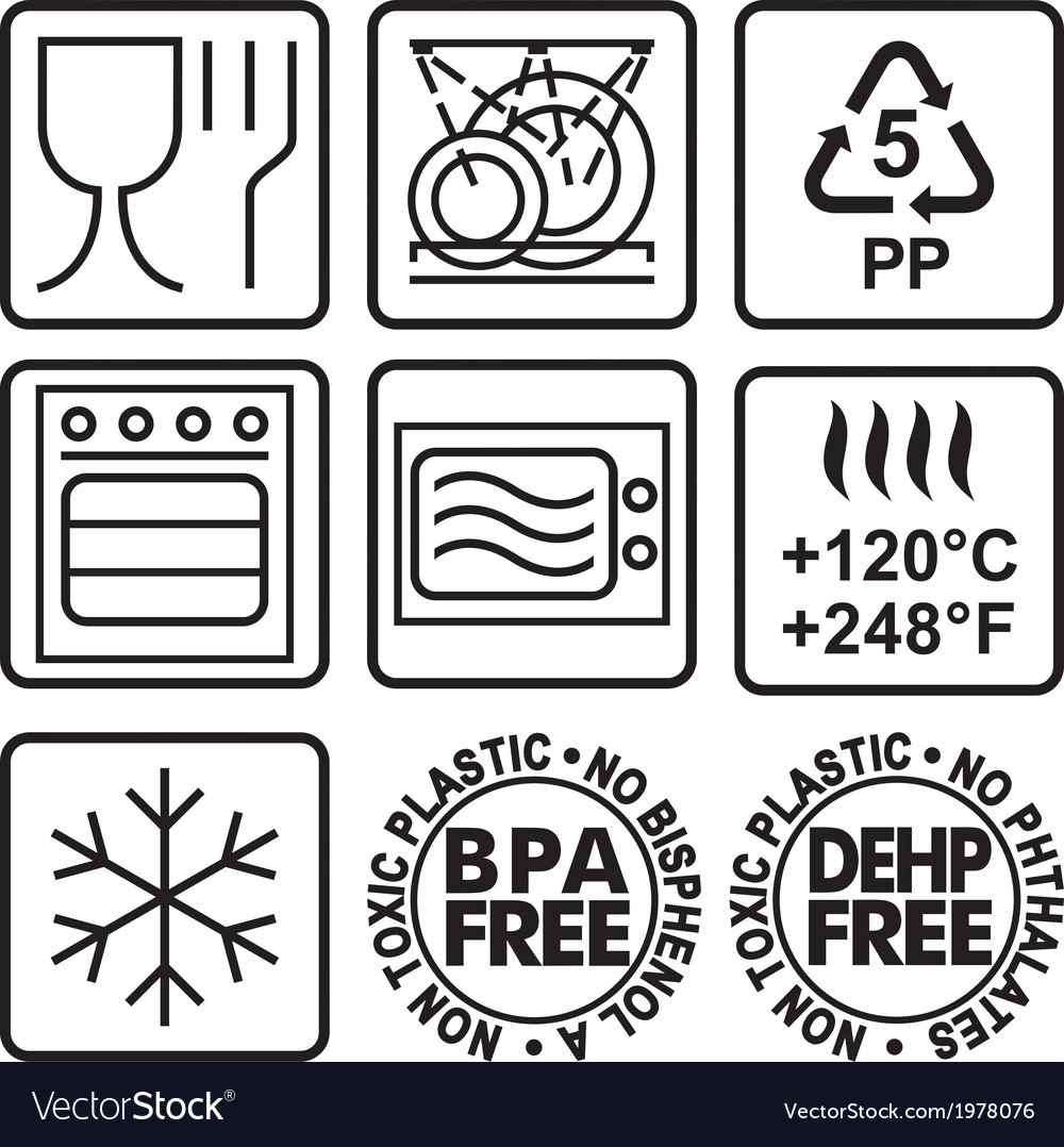 Symbols For Marking Plastic Dishes Royalty Free Vector Image