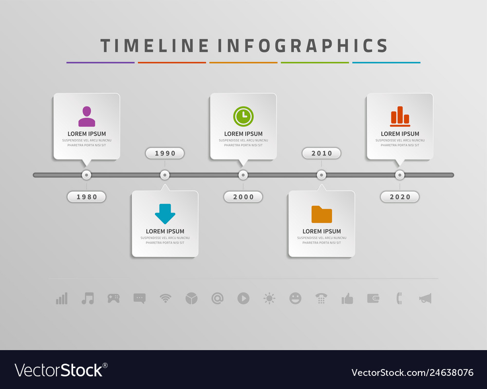 Timeline infographics and icons design